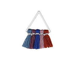 Vintage Denim Mix Small Fanned Tassel on Triangle Ring w/ Silver Finish 15x23mm