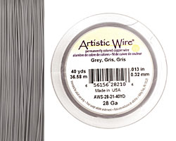 Artistic Wire Grey 28 gauge, 40 yards