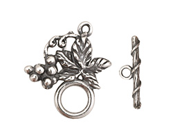 Antique Silver (plated) Grape Vine Toggle Clasp 27x24mm, 20mm bar