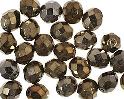 Czech Fire Polished Glass Iris Brown Round 8mm