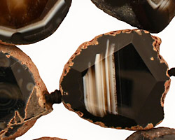 Black Agate Natural Edge Freeform Faceted Slab 27-41x21-30mm