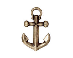 TierraCast Antique Brass (plated) Anchor Pendant 18x28mm