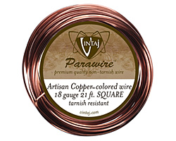 Vintaj Artisan Copper Square Parawire 18 gauge, 21 feet
