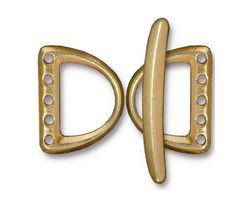 TierraCast Gold (plated) 5 Hole D Ring Clasp Set 15x20mm, 30mm bar