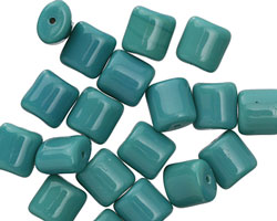 Czech Glass Persian Turquoise Puff Rectangle 8x7mm