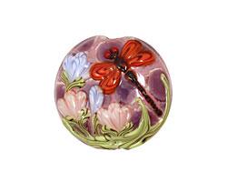 Grace Lampwork Red Dragonfly/ Violet Garden Lentil 27-28mm