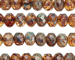 Czech Glass Picasso Garden Fire Polished Rondelle 6x9mm