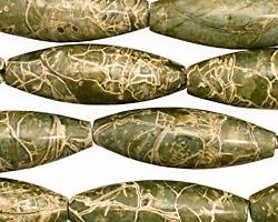African Green Jasper Rice 30x10mm