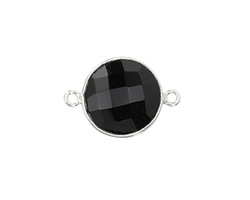 Black Onyx Faceted Coin Link in Sterling Silver 21x15mm