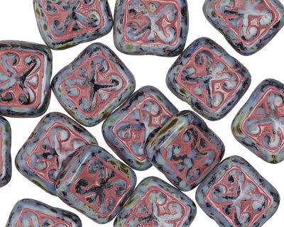 Czech Glass Jet Picasso w/Red Ornamental Rectangle 11x12mm