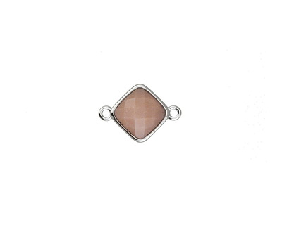 Peach Moonstone Faceted Diamond Focal Link in Silver Finish Bezel 17x12mm