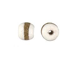 African Powder Glass (Krobo) White w/ Band Tumbled Round 10-12mm
