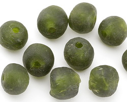 African Recycled Glass Dark Green Tumbled Round 12-16mm