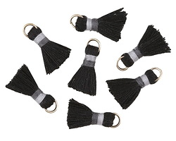 Jet w/ Gray and Charcoal Binding & Jump Ring Thread Tassel 18mm