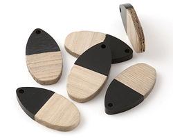Wood & Jet Resin Teardrop Focal 16x31mm