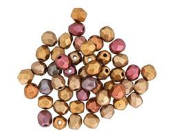 Czech Glass Matte Metallic Gold Copper Iris Fire Polished Round 4mm