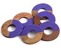 Walnut Wood & Deep Periwinkle Resin Donut Focal 45mm