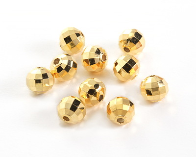 Gold (plated) Facteted Round Bead 8mm