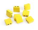 Yellow Enamel 2-Hole Tile Square Bead 8mm