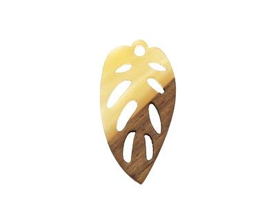 Walnut Wood & Butter Resin Openwork Leaf Focal 15x28mm