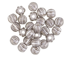 Czech Glass Black Diamond w/ Silver Wash Large Hole Melon Round 6mm