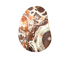 Orbicular Jasper w/ Orange Flat Freeform Pendant 39-41x55-57mm
