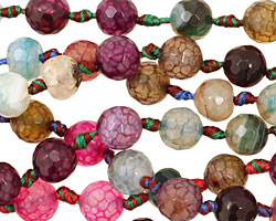 Multi-Color Fire Agate Faceted Round 8mm