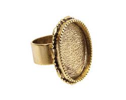 Nunn Design Antique Gold (plated) Large Ornate Oval Bezel Adjustable Ring 24x30mm