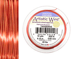 Artistic Wire Silver Plated Tangerine 22 gauge, 10 yards