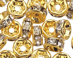 Gold (plated) Crystal Rhinestone Rondelle 6mm