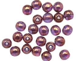 Czech Glass Gilded Transparent Amethyst Round Druk 6mm