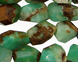 Australian Chrysoprase Faceted Nugget 13-25x10-15mm