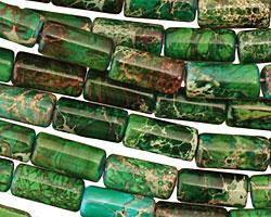 Dark Emerald Impression Jasper Tube 12x6mm