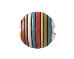 Golem Studio Funky Stripes Rainbow Carved Ceramic Lentil 23mm