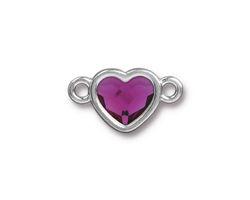 TierraCast Rhodium (plated) Heart Link w/ Fuchsia Crystal 20.5x12mm
