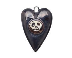 Earthenwood Studio Ceramic Metallic Pewter Skull Heart Pendant 22x30mm