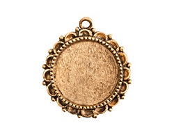 Nunn Design Antique Gold (plated) Large Ornate Circle Bezel Pendant 30x32mm