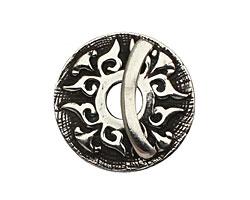Saki White Bronze Baroque Toggle Clasp 32mm, 28mm bar