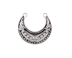 Antique Silver Finish Daisy Crescent Focal 28x25mm