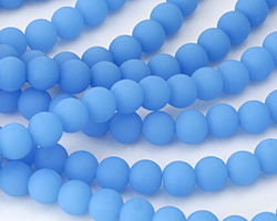 Opaque Blue Opal Recycled Glass Round 8mm