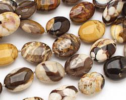 Peanut Wood Fossil Puff Oval 18-21x15-17mm