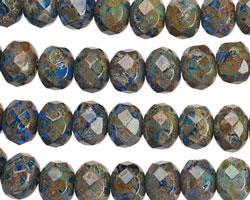 Czech Glass Cobalt Garden Fire Polished Rondelle 6x9mm