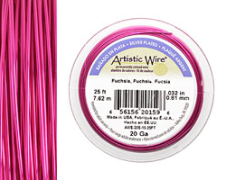 Artistic Wire Silver Plated Fuchsia 20 gauge, 25 feet