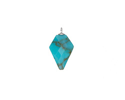 Synthetic Turquoise Faceted Arrow Pendant w/ Silver Finish 11-12x19-20mm