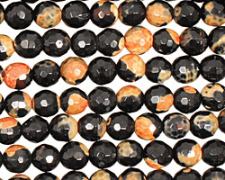 Black & Orange Agate Faceted Round 6mm