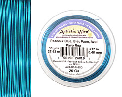Artistic Wire Silver Plated Peacock Blue 26 gauge, 30 yards