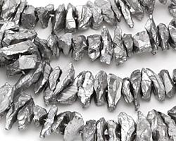 Metallic Silver Quartz Shards 5-12x10-30mm