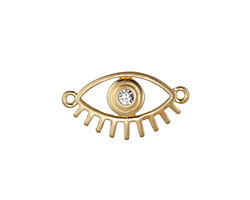 Zola Elements Matte Gold (plated) Lashed Eye w/ Crystal Focal Link 22x12mm