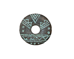 Greek Copper Patina Tribal Etched Donut 20mm