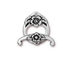 TierraCast Antique Silver (plated) Floral Toggle Clasp 20x16mm, 23mm bar